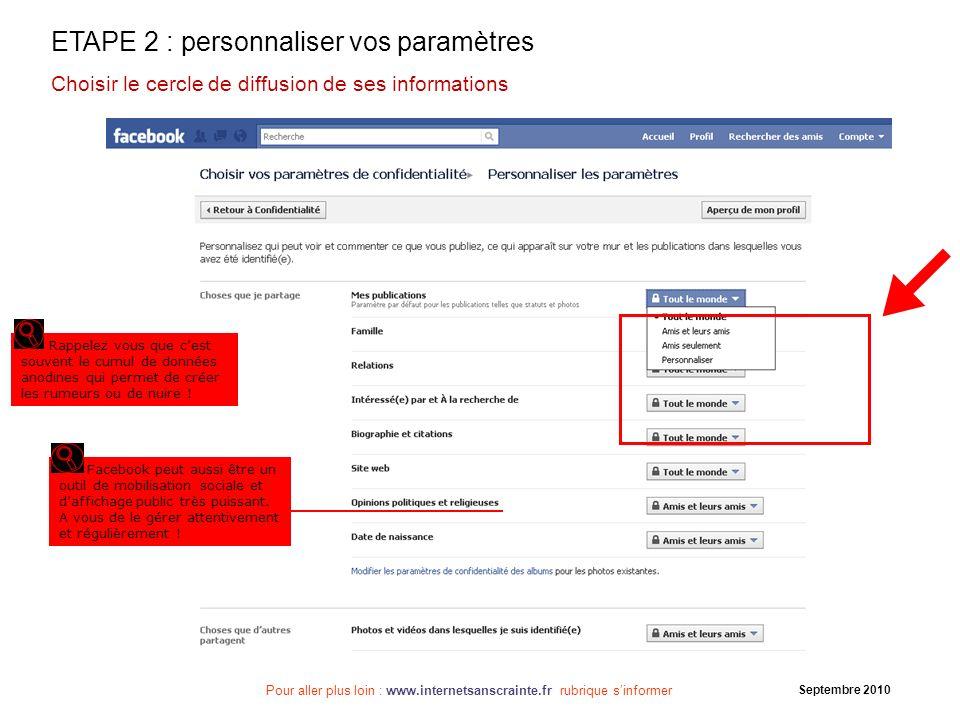 Pour aller plus loin : www.internetsanscrainte.fr rubrique sinformer Septembre 2010 ETAPE 2 : personnaliser vos paramètres Choisir le cercle de diffus
