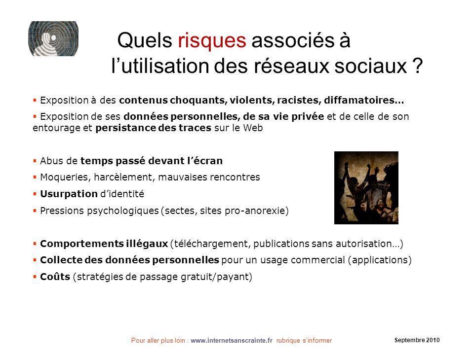Pour aller plus loin : www.internetsanscrainte.fr rubrique sinformer Septembre 2010 Quels risques associés à lutilisation des réseaux sociaux ? Exposi