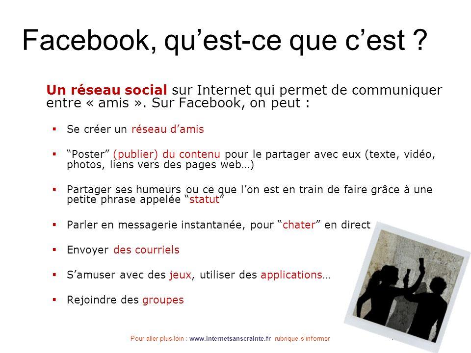 Pour aller plus loin : www.internetsanscrainte.fr rubrique sinformer Septembre 2010 Facebook, quest-ce que cest ? Un réseau social sur Internet qui pe