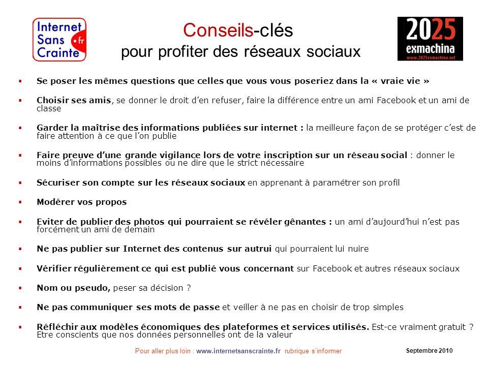 Pour aller plus loin : www.internetsanscrainte.fr rubrique sinformer Septembre 2010 Conseils-clés pour profiter des réseaux sociaux Se poser les mêmes