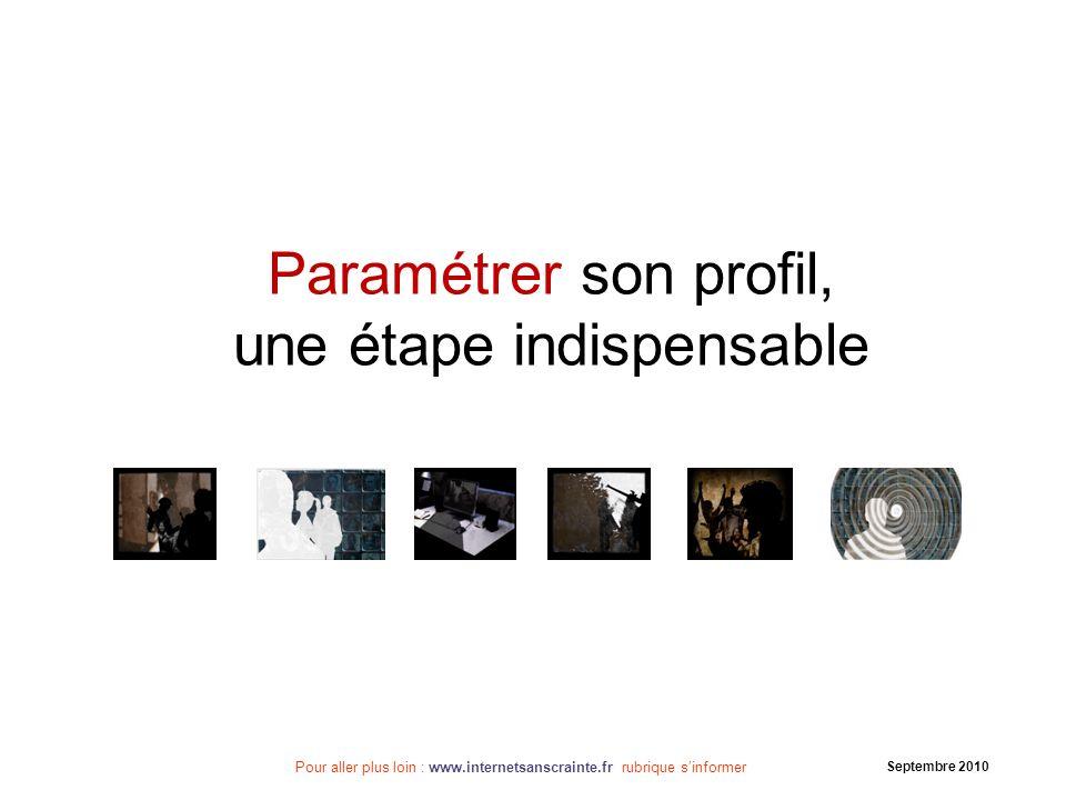 Pour aller plus loin : www.internetsanscrainte.fr rubrique sinformer Septembre 2010 Vous venez de paramétrer votre compte, bravo !