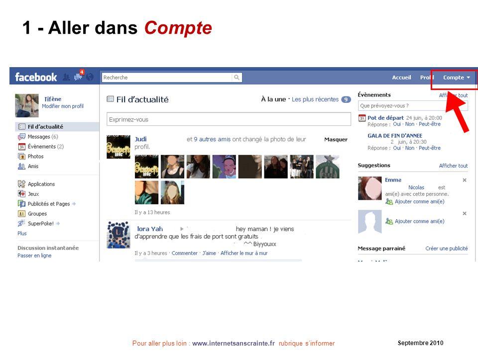 Pour aller plus loin : www.internetsanscrainte.fr rubrique sinformer Septembre 2010 Pensez par la suite à taper régulièrement votre nom dans les moteurs de recherche Internet et blog pour vérifier la diffusion de vos données…
