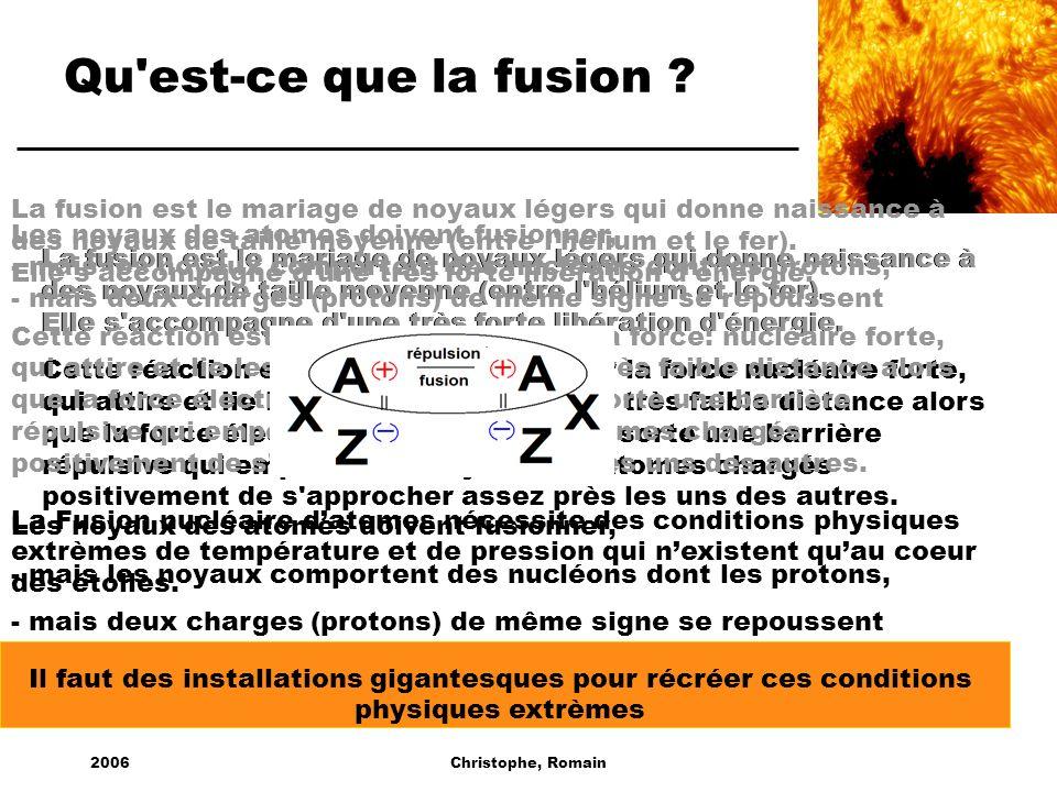 2006Christophe, Romain Qu'est-ce que la fusion ? La fusion est le mariage de noyaux légers qui donne naissance à des noyaux de taille moyenne (entre l