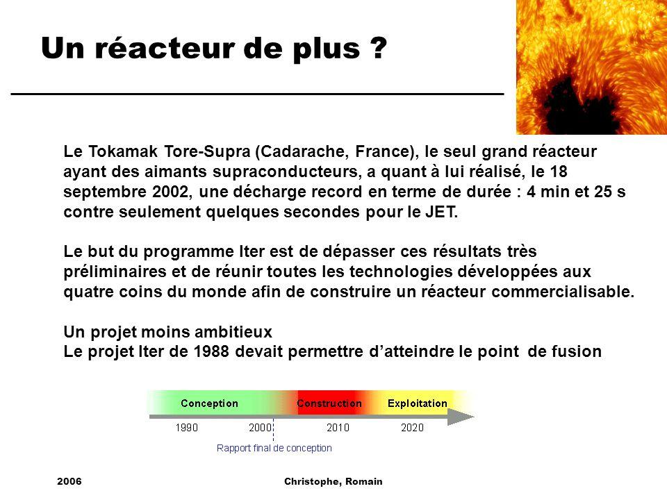 2006Christophe, Romain Un réacteur de plus ? Le Tokamak Tore-Supra (Cadarache, France), le seul grand réacteur ayant des aimants supraconducteurs, a q