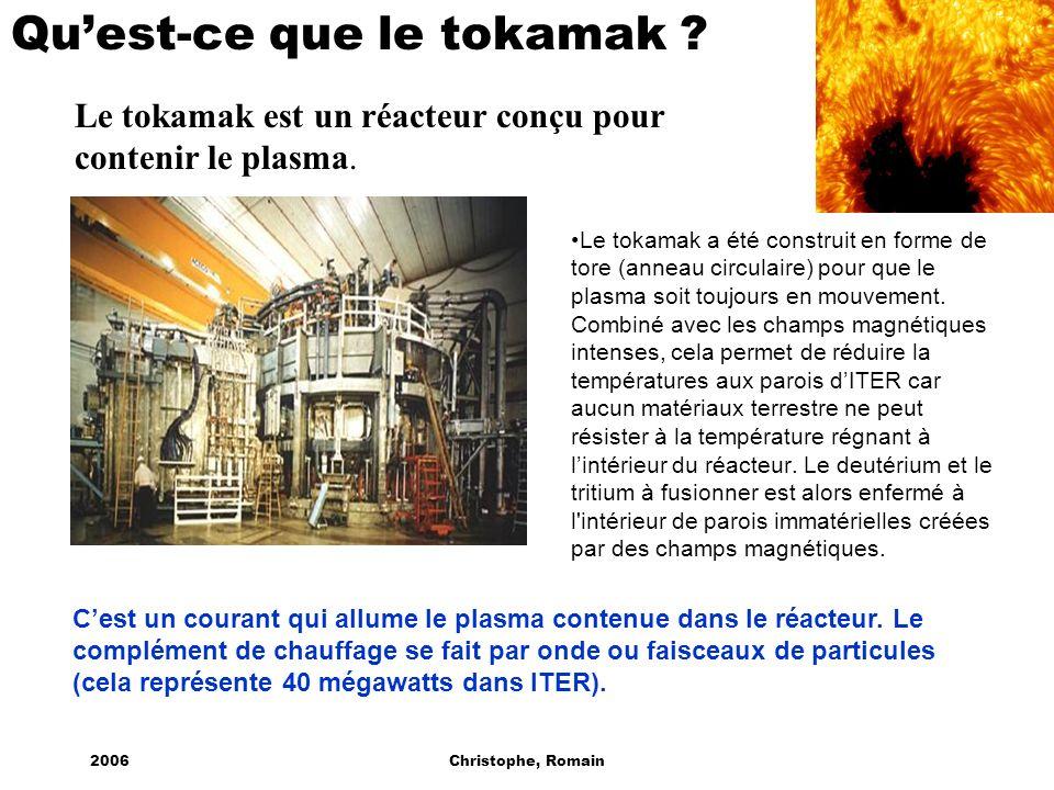 2006Christophe, Romain Quest-ce que le tokamak ? Le tokamak est un réacteur conçu pour contenir le plasma. Le tokamak a été construit en forme de tore