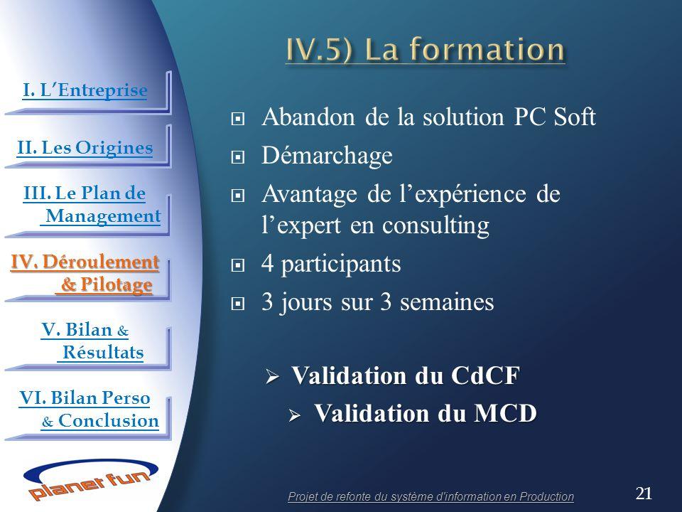 21 Abandon de la solution PC Soft Démarchage Avantage de lexpérience de lexpert en consulting 4 participants 3 jours sur 3 semaines Validation du CdCF