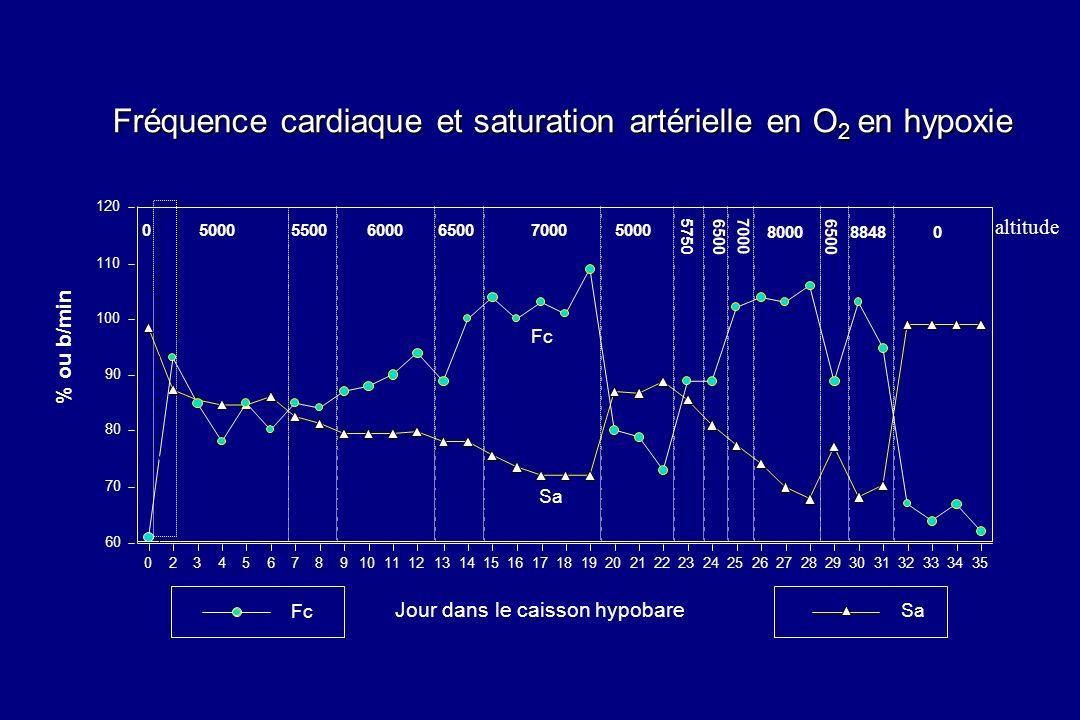 Fréquence cardiaque et saturation artérielle en O 2 en hypoxie