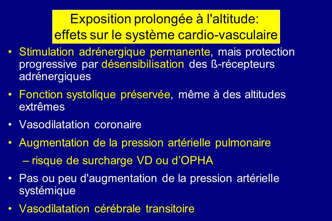 Stimulation adrénergique permanente, mais protection progressive par désensibilisation des ß-récepteurs adrénergiques Fonction systolique préservée, m