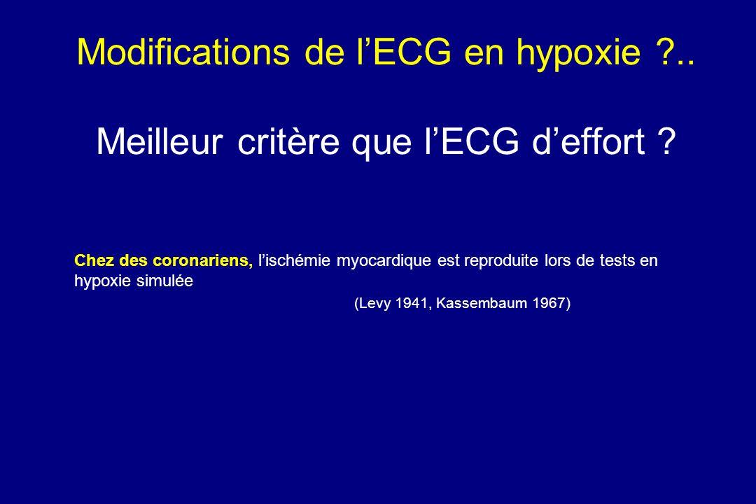 Modifications de lECG en hypoxie ?.. Meilleur critère que lECG deffort ? Chez des coronariens, lischémie myocardique est reproduite lors de tests en h