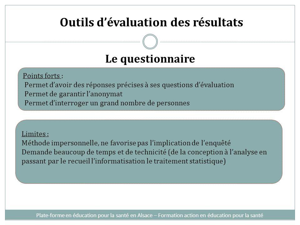Outils dévaluation des résultats Le questionnaire Plate-forme en éducation pour la santé en Alsace – Formation action en éducation pour la santé Point