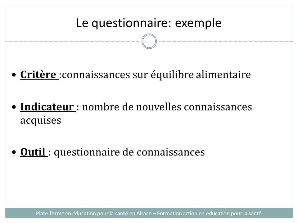 Le questionnaire: exemple Critère :connaissances sur équilibre alimentaire Indicateur : nombre de nouvelles connaissances acquises Outil : questionnai
