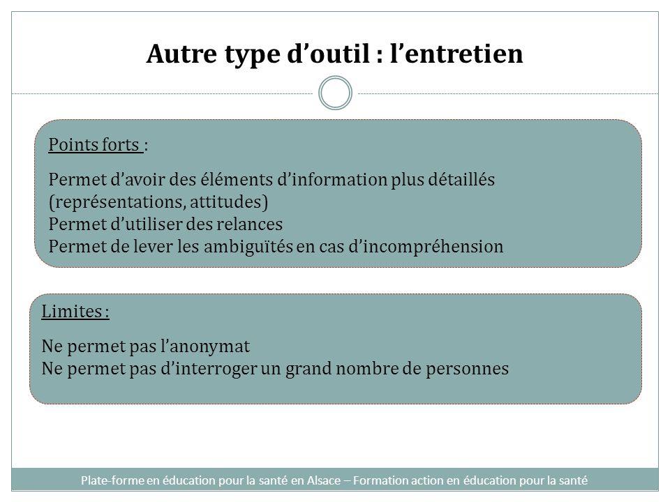 Autre type doutil : lentretien Plate-forme en éducation pour la santé en Alsace – Formation action en éducation pour la santé Points forts : Permet da