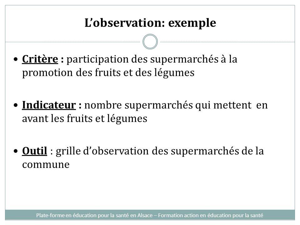 Lobservation: exemple Critère : participation des supermarchés à la promotion des fruits et des légumes Indicateur : nombre supermarchés qui mettent e