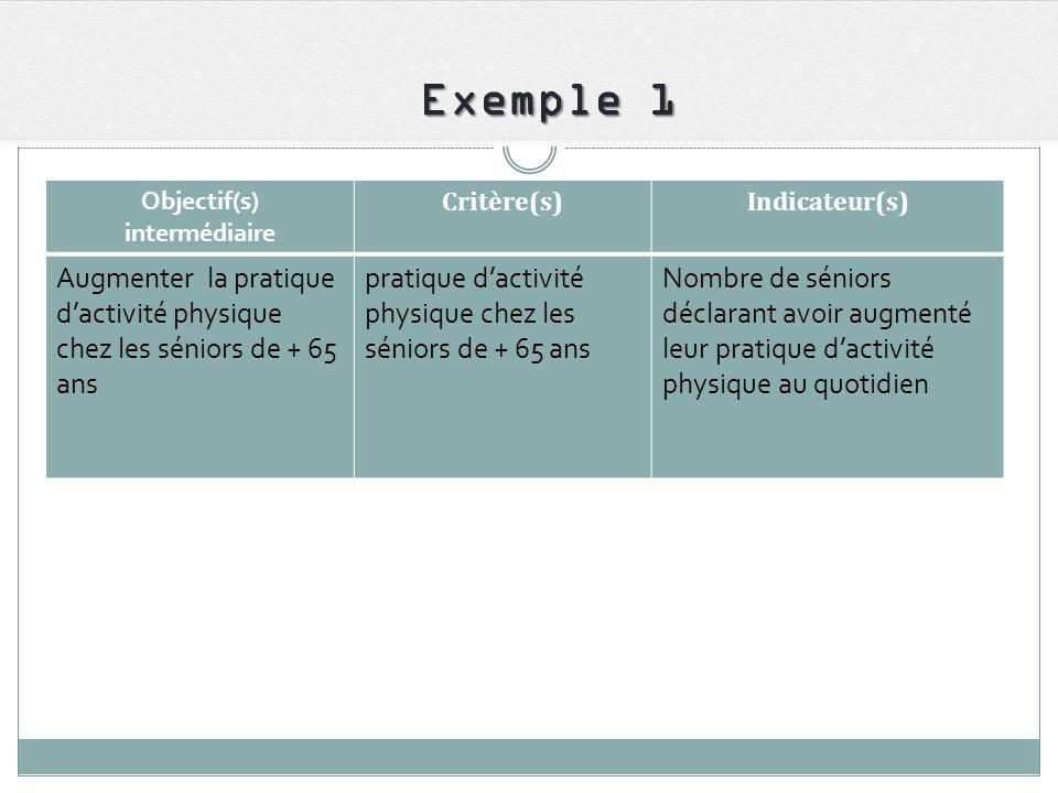Exemple 1 Objectif(s) intermédiaire Critère(s)Indicateur(s) Augmenter la pratique dactivité physique chez les séniors de + 65 ans pratique dactivité p