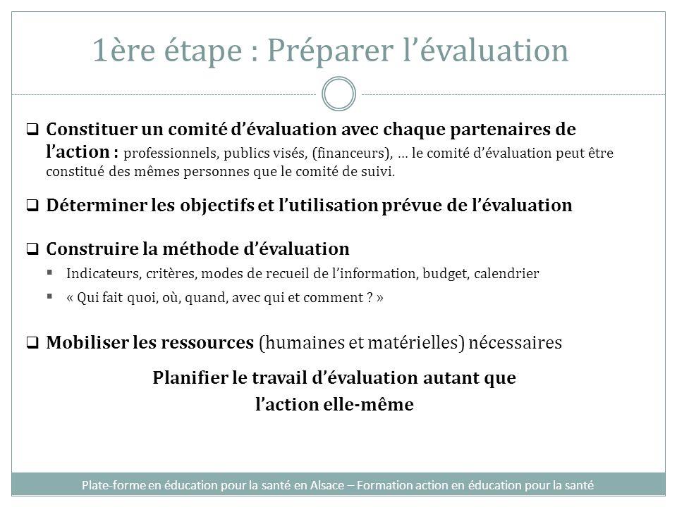 1ère étape : Préparer lévaluation Constituer un comité dévaluation avec chaque partenaires de laction : professionnels, publics visés, (financeurs), …