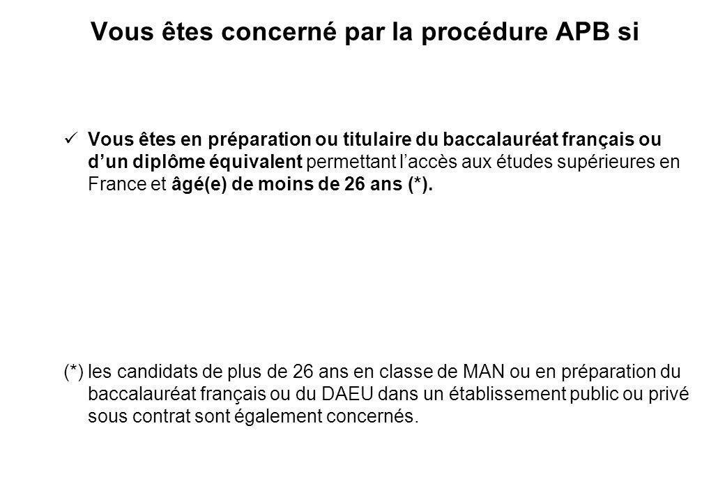 Vous êtes concerné par la procédure APB si Vous êtes en préparation ou titulaire du baccalauréat français ou dun diplôme équivalent permettant laccès aux études supérieures en France et âgé(e) de moins de 26 ans (*).