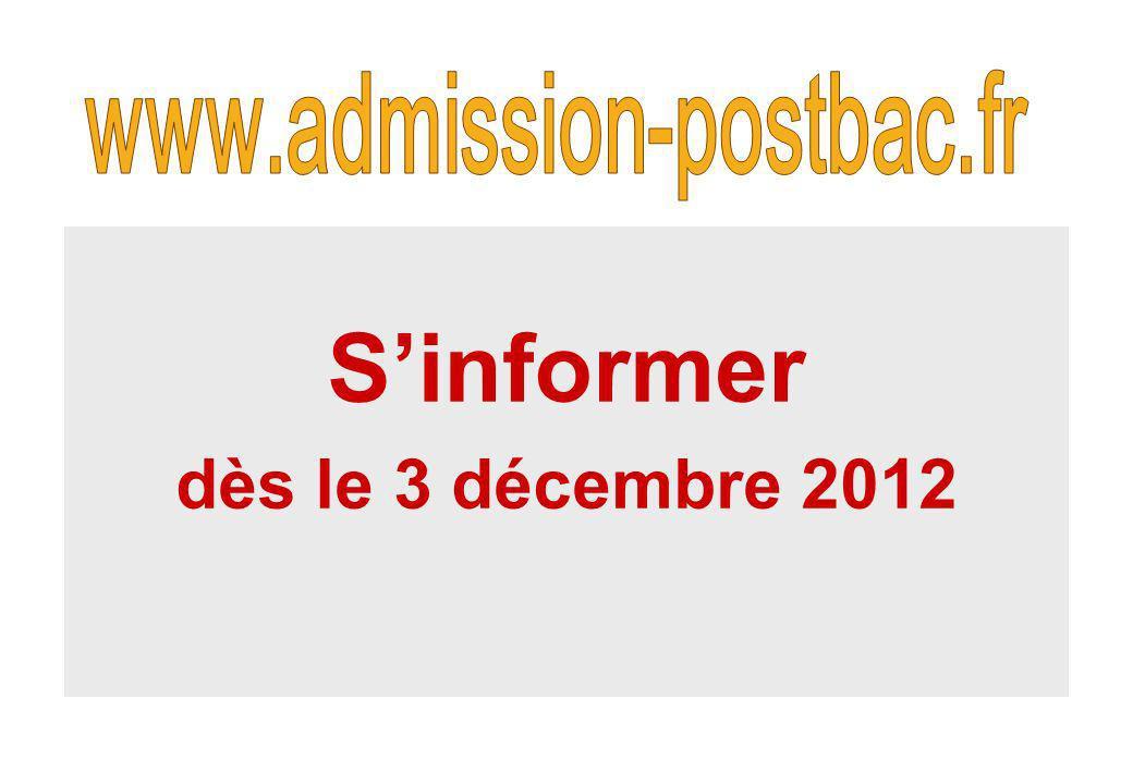 Sinformer dès le 3 décembre 2012