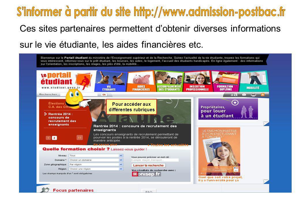 Ces sites partenaires permettent dobtenir diverses informations sur le vie étudiante, les aides financières etc. Pour accéder aux différentes rubrique
