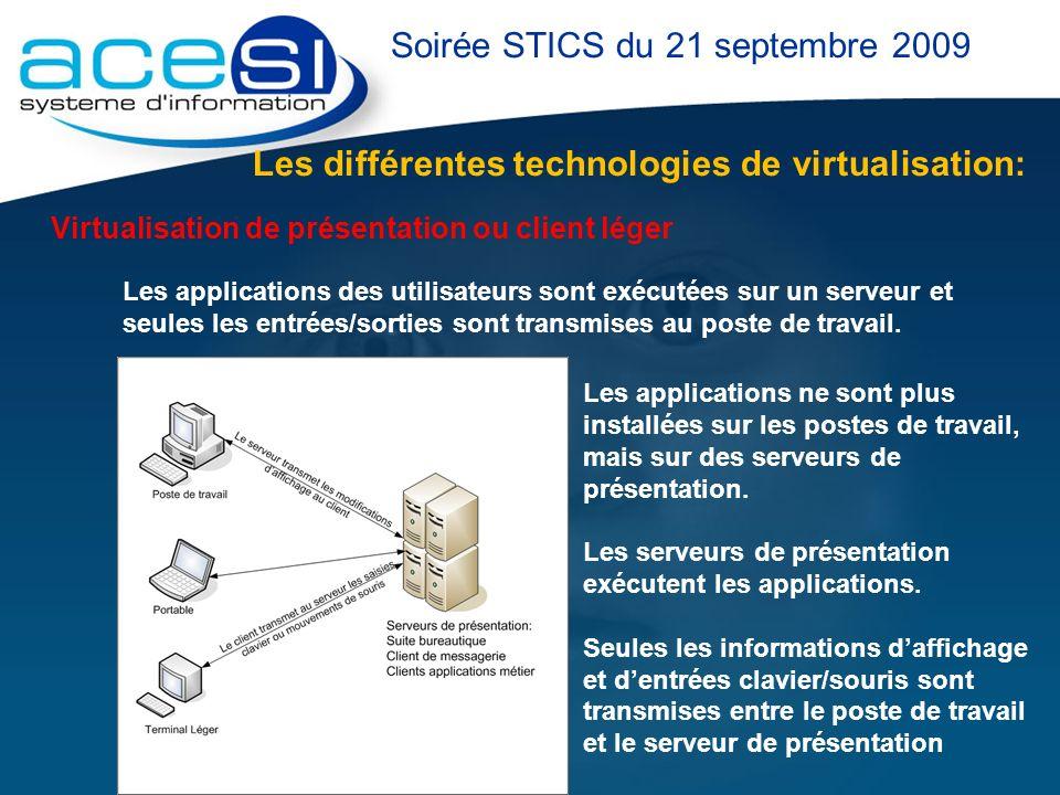 Les différentes technologies de virtualisation: Soirée STICS du 21 septembre 2009 Virtualisation de présentation ou client léger Les applications des