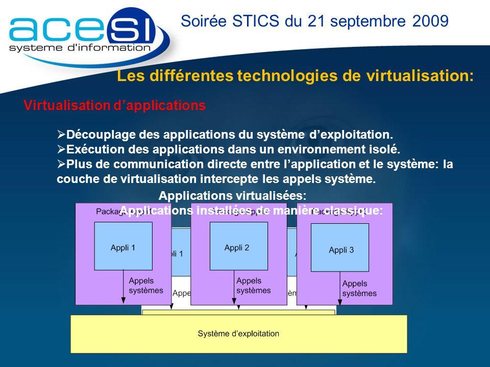Les différentes technologies de virtualisation: Soirée STICS du 21 septembre 2009 Virtualisation dapplications Découplage des applications du système
