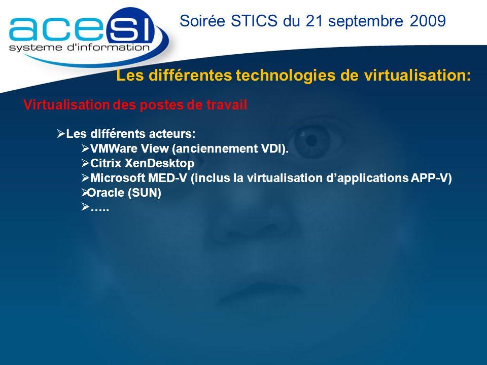 Les différentes technologies de virtualisation: Soirée STICS du 21 septembre 2009 Virtualisation des postes de travail Les différents acteurs: VMWare