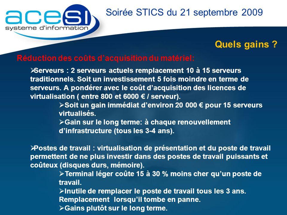Quels gains ? Soirée STICS du 21 septembre 2009 Réduction des coûts dacquisition du matériel: Serveurs : 2 serveurs actuels remplacement 10 à 15 serve