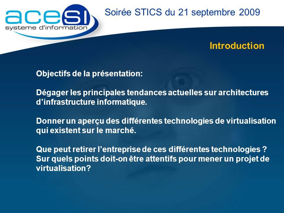 Introduction Objectifs de la présentation: Dégager les principales tendances actuelles sur architectures dinfrastructure informatique. Donner un aperç