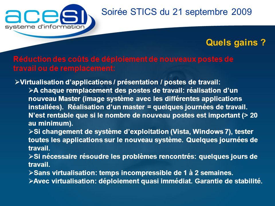 Quels gains ? Soirée STICS du 21 septembre 2009 Réduction des coûts de déploiement de nouveaux postes de travail ou de remplacement: Virtualisation da