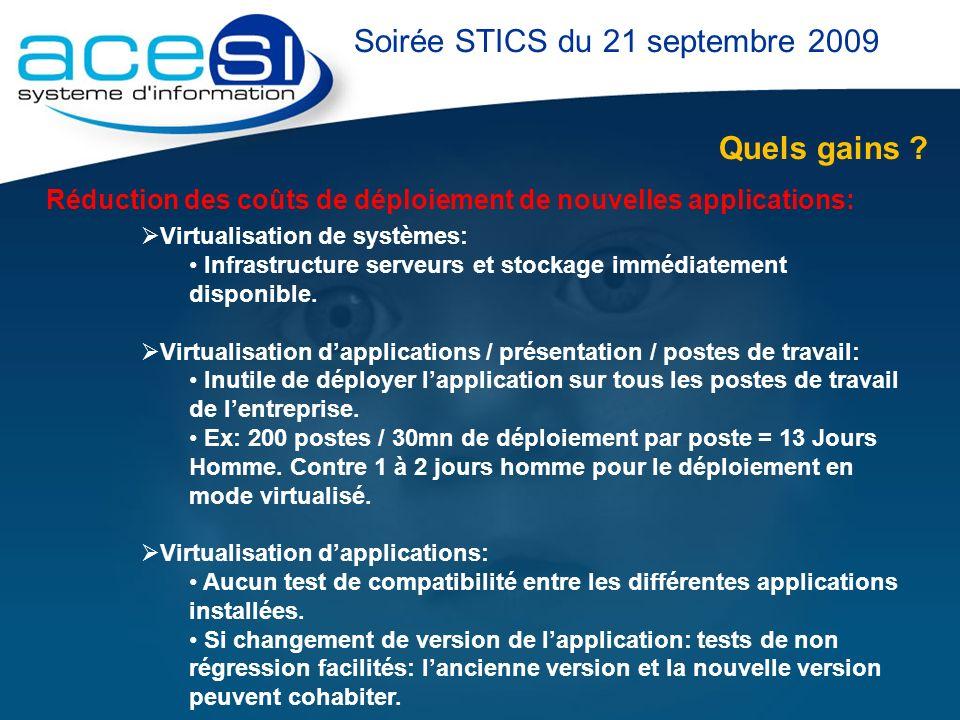 Quels gains ? Soirée STICS du 21 septembre 2009 Réduction des coûts de déploiement de nouvelles applications: Virtualisation de systèmes: Infrastructu