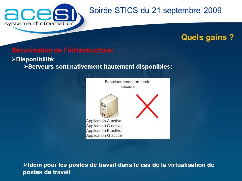 Quels gains ? Soirée STICS du 21 septembre 2009 Sécurisation de linfrastructure: Disponibilité: Serveurs sont nativement hautement disponibles: Idem p