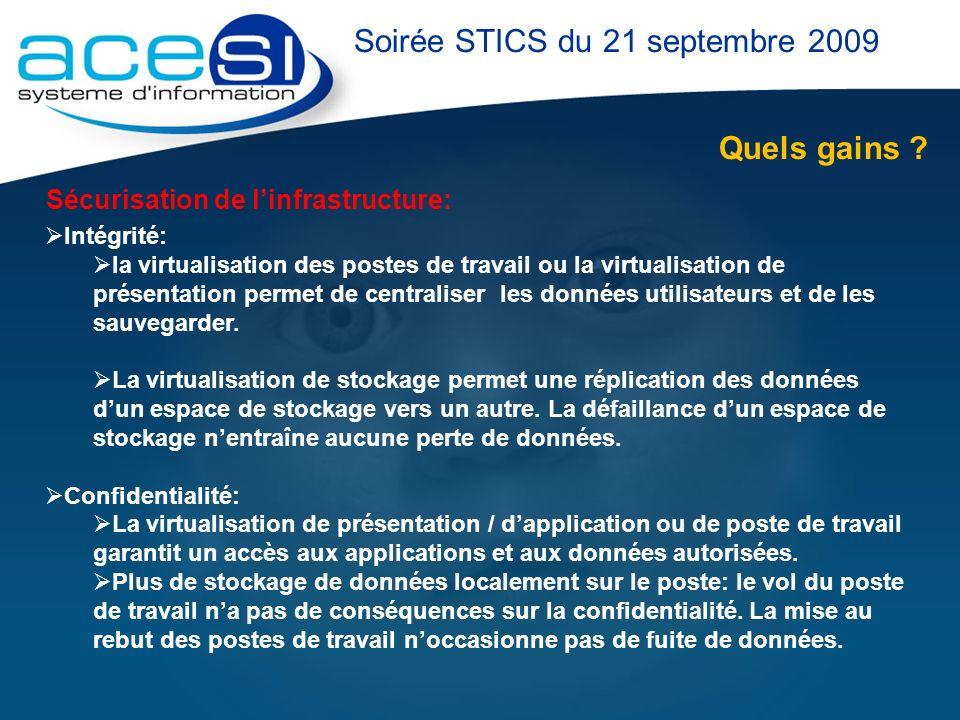 Quels gains ? Soirée STICS du 21 septembre 2009 Sécurisation de linfrastructure: Intégrité: la virtualisation des postes de travail ou la virtualisati