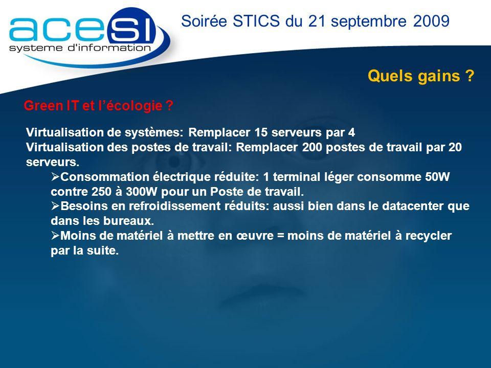 Quels gains ? Soirée STICS du 21 septembre 2009 Green IT et lécologie ? Virtualisation de systèmes: Remplacer 15 serveurs par 4 Virtualisation des pos