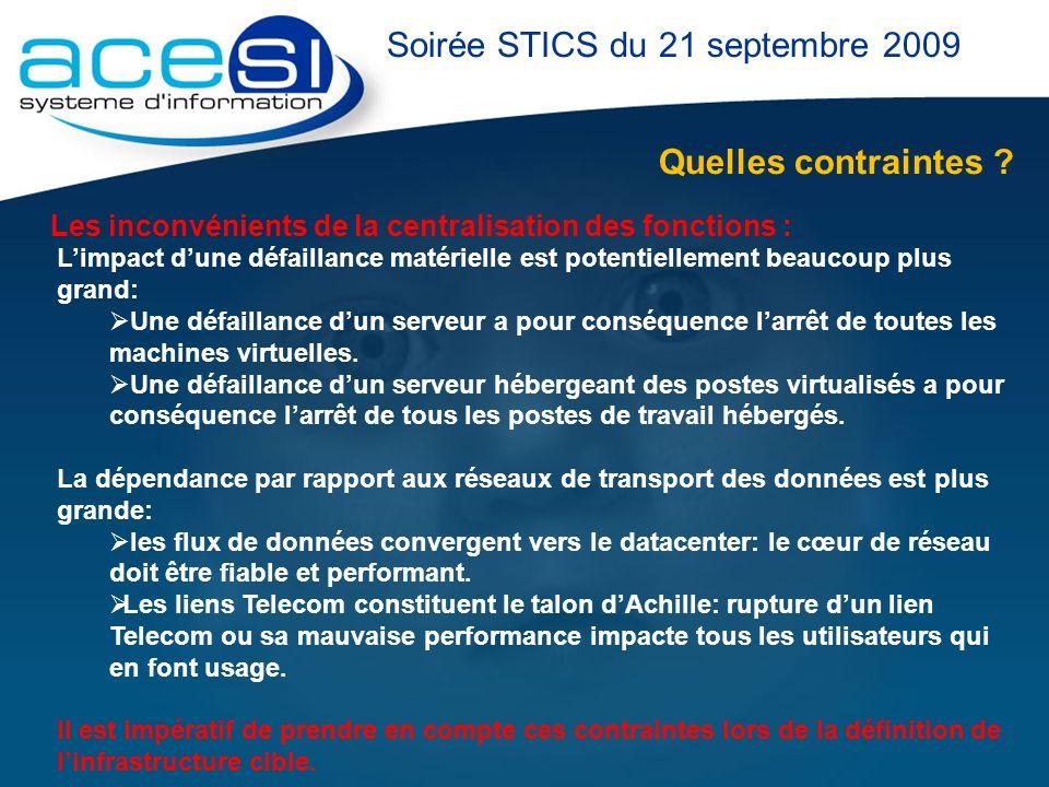 Quelles contraintes ? Soirée STICS du 21 septembre 2009 Les inconvénients de la centralisation des fonctions : Limpact dune défaillance matérielle est