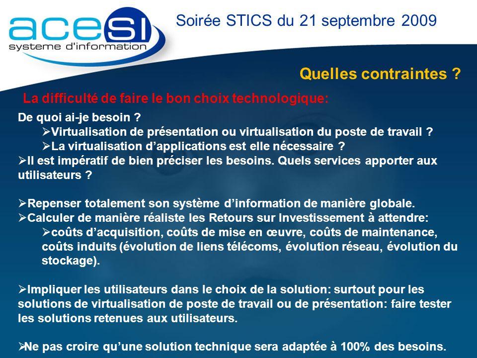 Quelles contraintes ? Soirée STICS du 21 septembre 2009 La difficulté de faire le bon choix technologique: De quoi ai-je besoin ? Virtualisation de pr