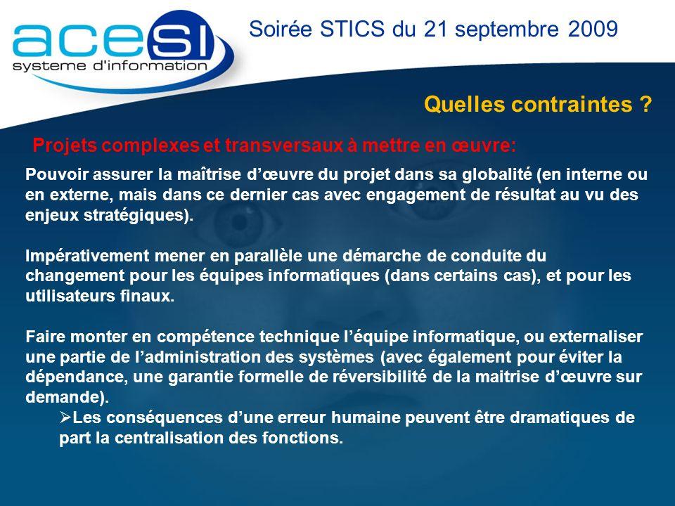 Quelles contraintes ? Soirée STICS du 21 septembre 2009 Projets complexes et transversaux à mettre en œuvre: Pouvoir assurer la maîtrise dœuvre du pro