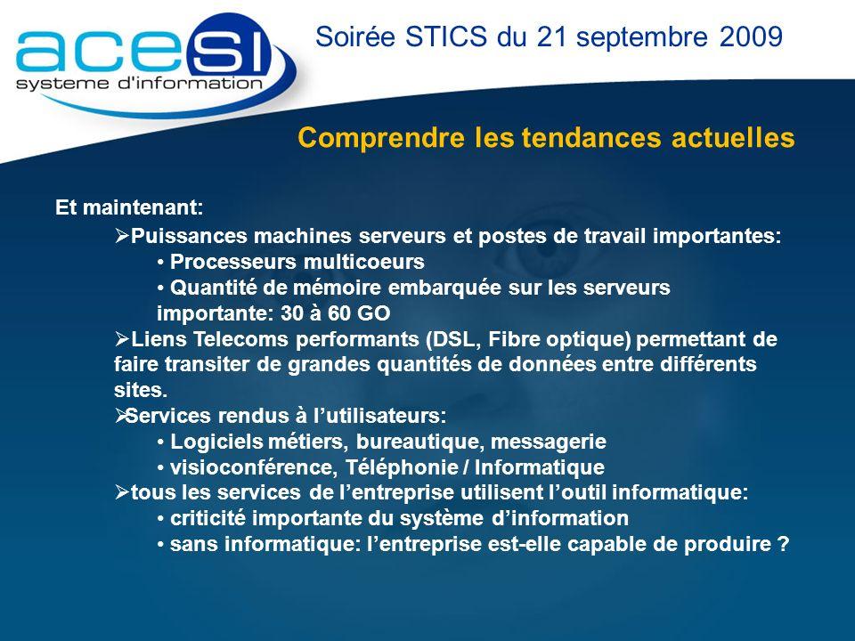 Comprendre les tendances actuelles Soirée STICS du 21 septembre 2009 Et maintenant: Puissances machines serveurs et postes de travail importantes: Pro