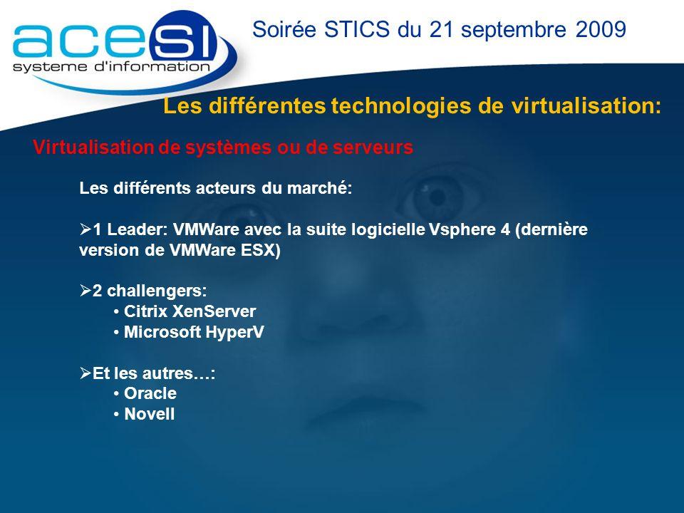 Les différentes technologies de virtualisation: Soirée STICS du 21 septembre 2009 Les différents acteurs du marché: 1 Leader: VMWare avec la suite log