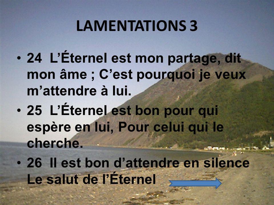 LAMENTATIONS 3 21 ¶ Voici ce que je veux repasser en mon cœur, Ce pourquoi jespère : 22 Cest que la bienveillance de lÉternel nest pas épuisée, Et que