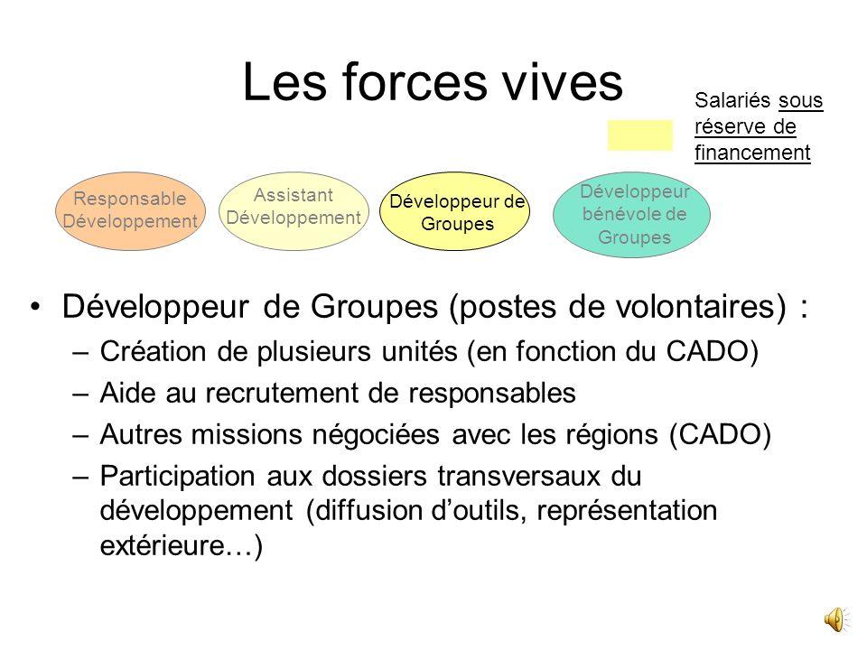 Les forces vives Assistant développement : –Assiste le Responsable développement dans toutes ses missions Salariés sous réserve de financement Responsable Développement Assistant Développement Développeur de Groupes Développeur bénévole de Groupes