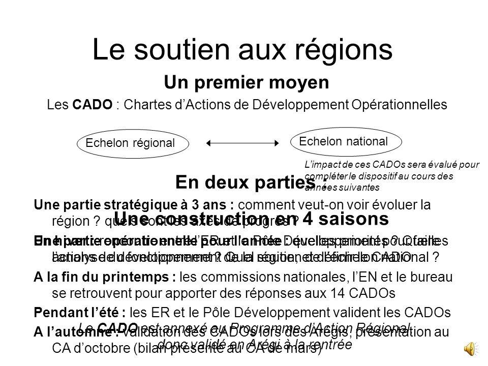 Le soutien aux régions Objectifs : Soutenir les Equipes Régionales dans leur quotidien Formaliser les attentes réciproques entre léchelon régional et national Offrir de nouveaux moyens à toutes les régions Avoir un développement sur tout le territoire Avoir des objectifs opérationnels de développement en région