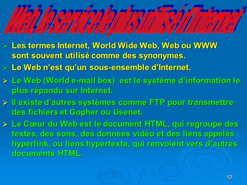 12 Les termes Internet, World Wide Web, Web ou WWW sont souvent utilisé comme des synonymes.