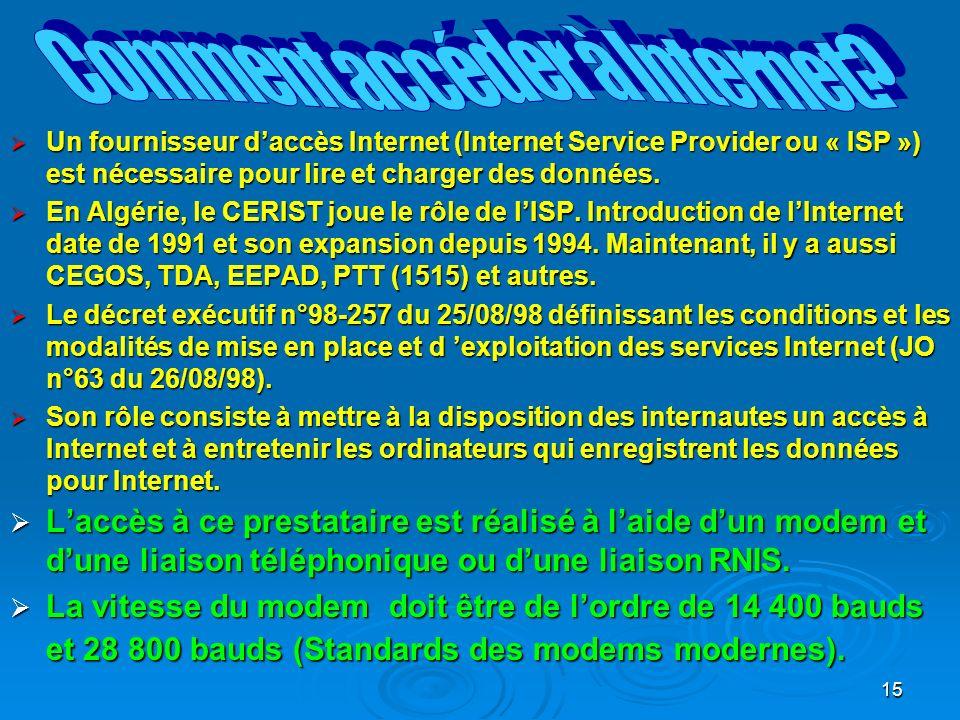 15 Un fournisseur daccès Internet (Internet Service Provider ou « ISP ») est nécessaire pour lire et charger des données.