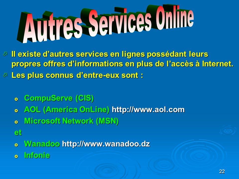 22 Il existe dautres services en lignes possédant leurs propres offres dinformations en plus de laccès à Internet.