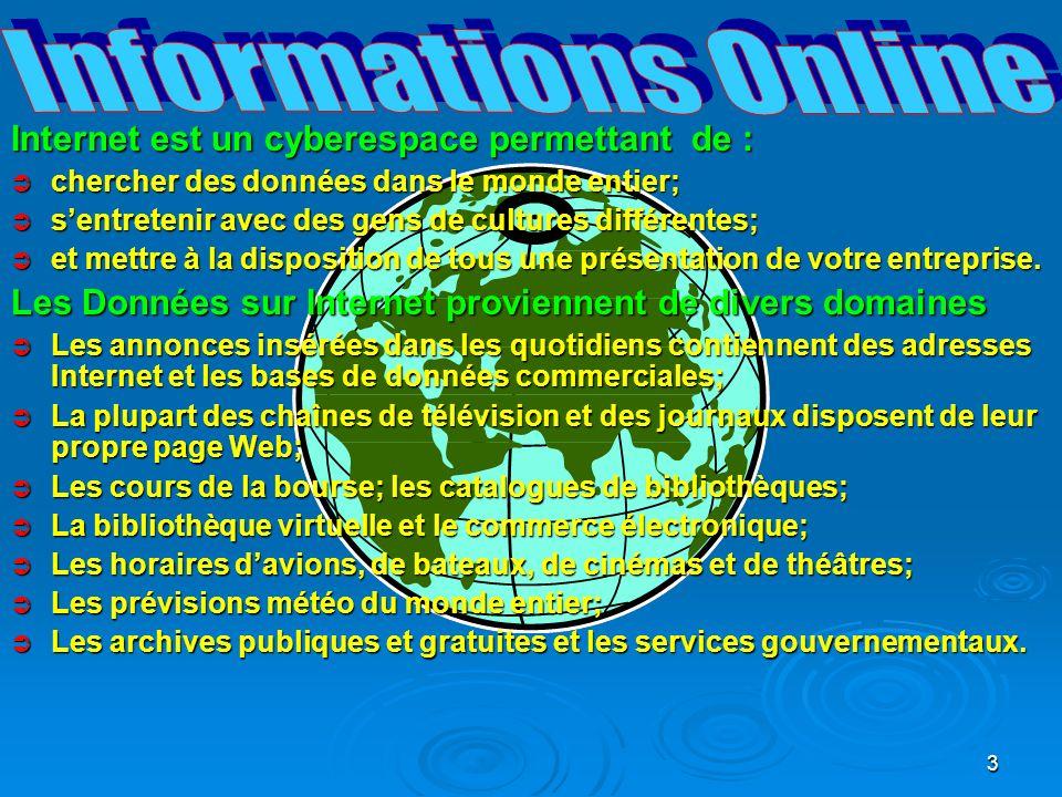 14 Pour être connecté à Internet, il faut : Pour être connecté à Internet, il faut : Ordinateur 486 ou Pentium Ordinateur 486 ou Pentium 16 Mo de mémoire (ou mieux 128 Mo) 16 Mo de mémoire (ou mieux 128 Mo) Système d exploitation WindowsNT, XP, Me, 2000, 98, 95, 3.1 ou 3.11 Système d exploitation WindowsNT, XP, Me, 2000, 98, 95, 3.1 ou 3.11 Un lecteur CD-Rom pour les logiciels Internet Un lecteur CD-Rom pour les logiciels Internet Une carte son et de haut-parleurs (ou découteurs) pour profiter de toutes les animations sonores de lInternet.