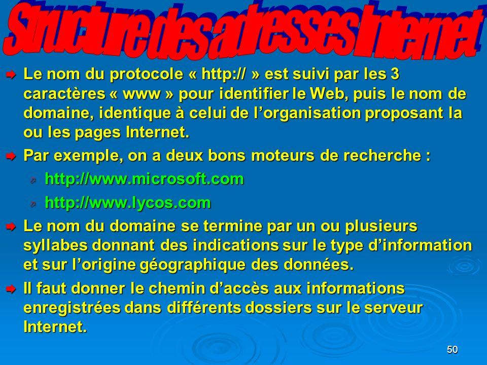 50 Le nom du protocole « http:// » est suivi par les 3 caractères « www » pour identifier le Web, puis le nom de domaine, identique à celui de lorganisation proposant la ou les pages Internet.