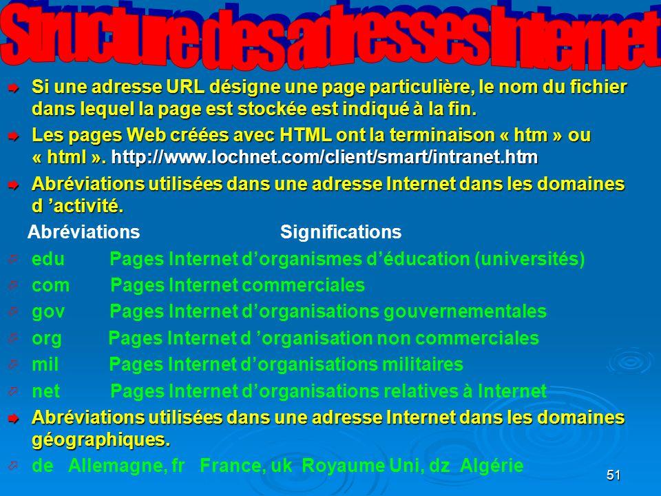 51 Si une adresse URL désigne une page particulière, le nom du fichier dans lequel la page est stockée est indiqué à la fin.