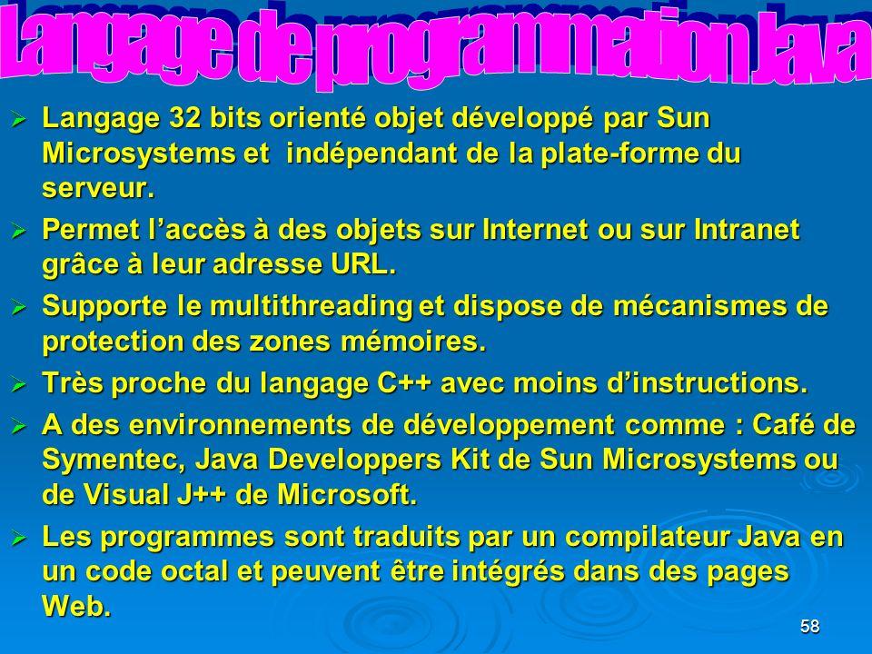 58 Langage 32 bits orienté objet développé par Sun Microsystems et indépendant de la plate-forme du serveur.