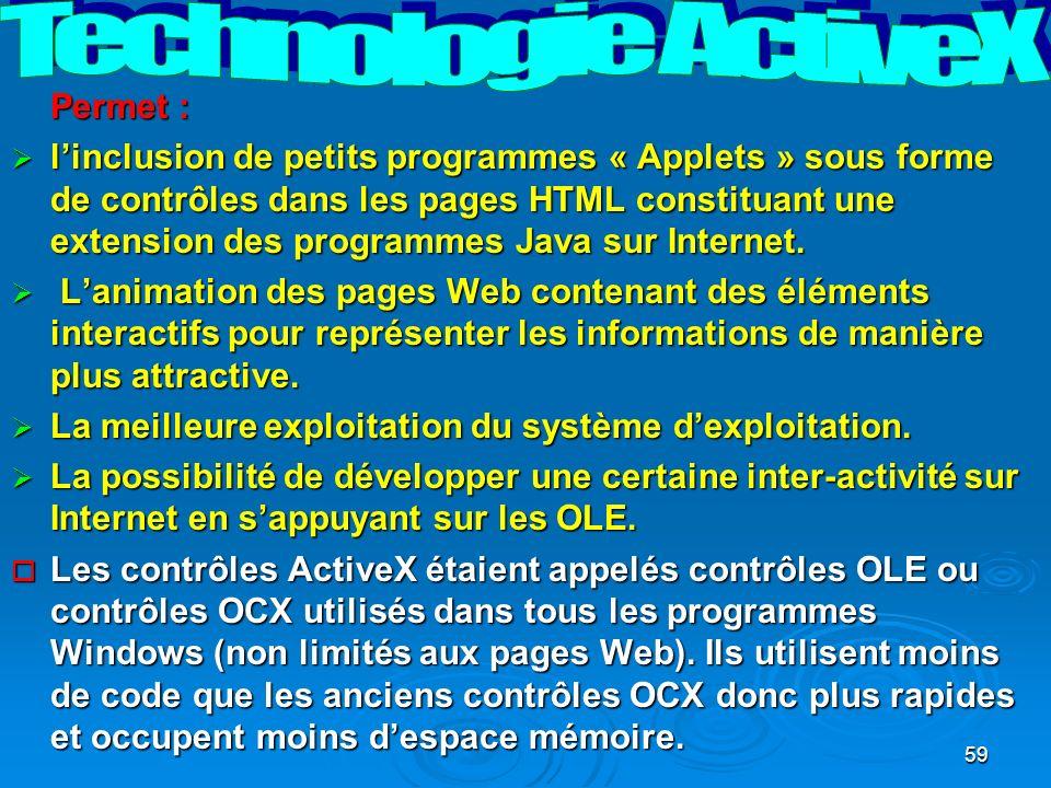 59 Permet : linclusion de petits programmes « Applets » sous forme de contrôles dans les pages HTML constituant une extension des programmes Java sur Internet.