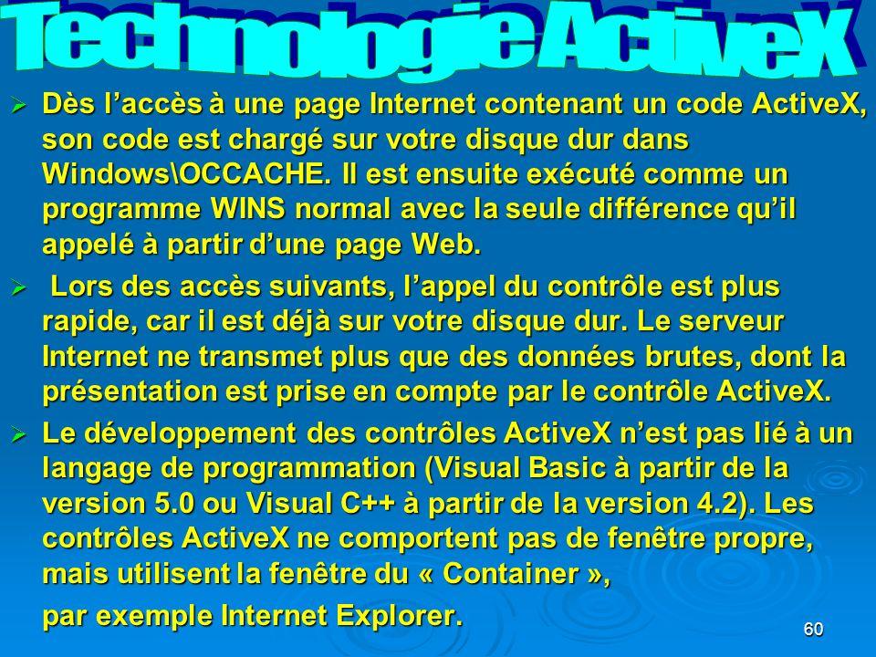 60 Dès laccès à une page Internet contenant un code ActiveX, son code est chargé sur votre disque dur dans Windows\OCCACHE.