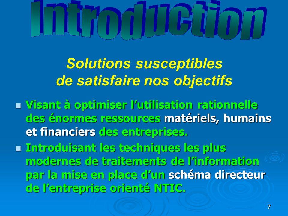 7 n Visant à optimiser lutilisation rationnelle des énormes ressources matériels, humains et financiers des entreprises.